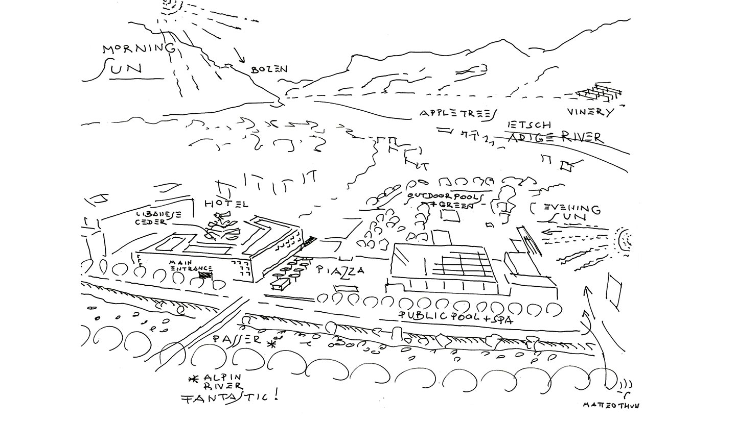Landascape view sketch of Terme Merano, Meran (IT), 2005