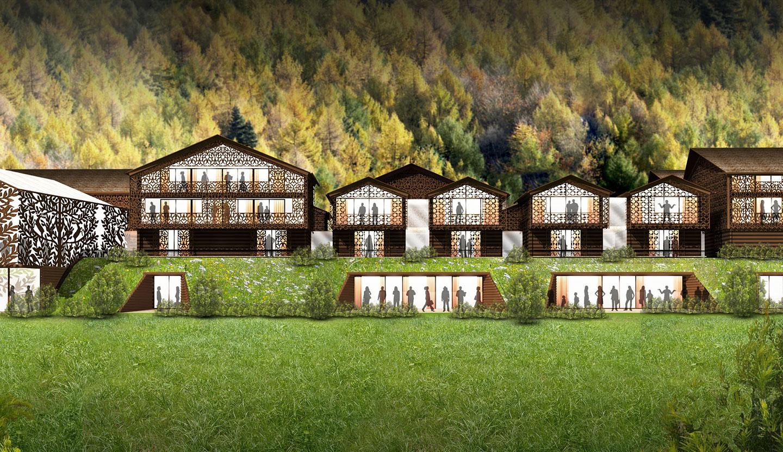 matteo thun partners architecture swiss nature resort goms village. Black Bedroom Furniture Sets. Home Design Ideas