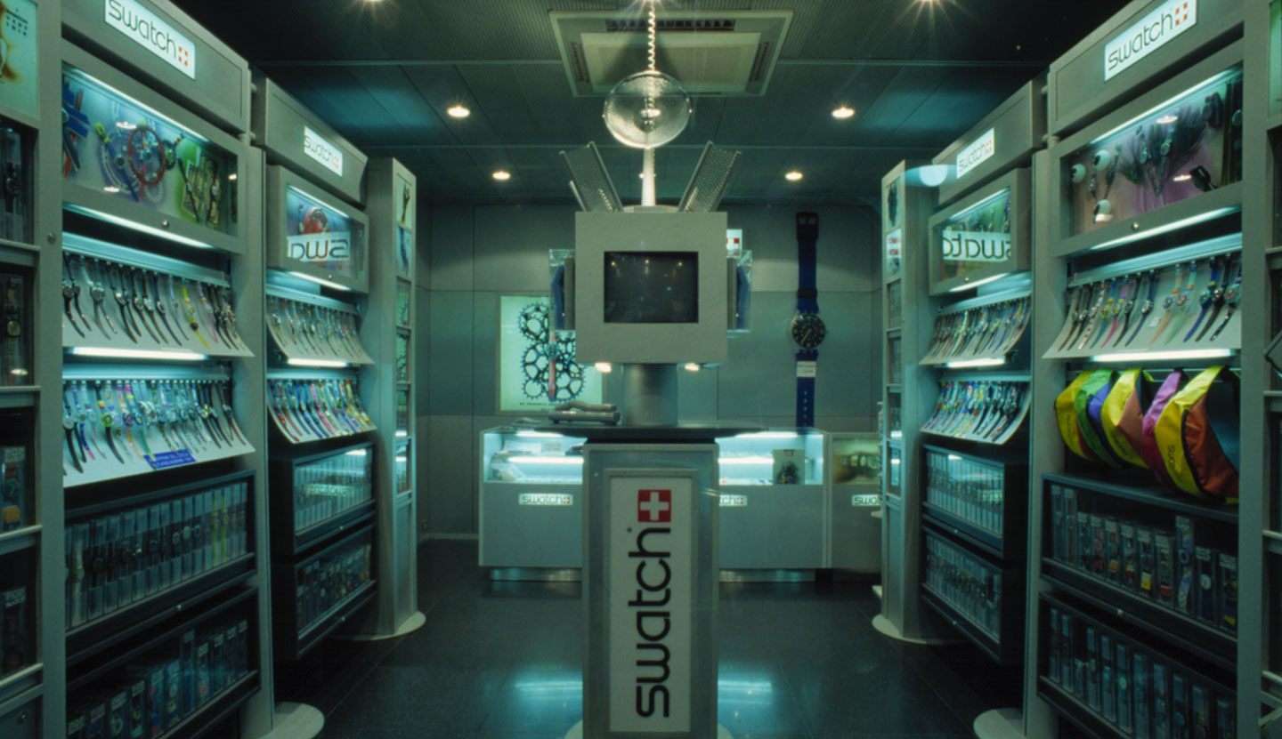Swatch retail system, worldwide, 1990
