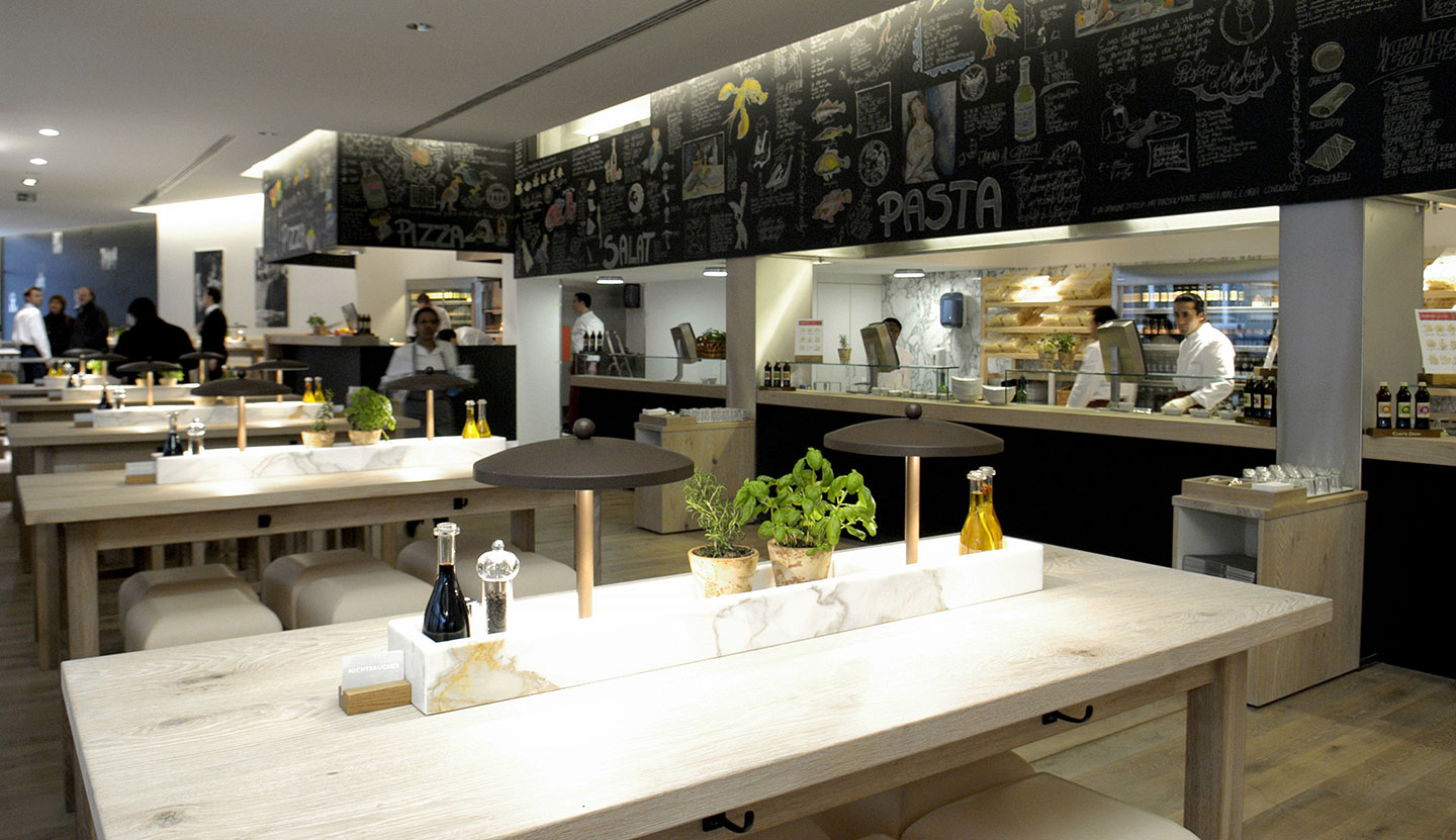 matteo thun partners interior vapiano dining concept. Black Bedroom Furniture Sets. Home Design Ideas