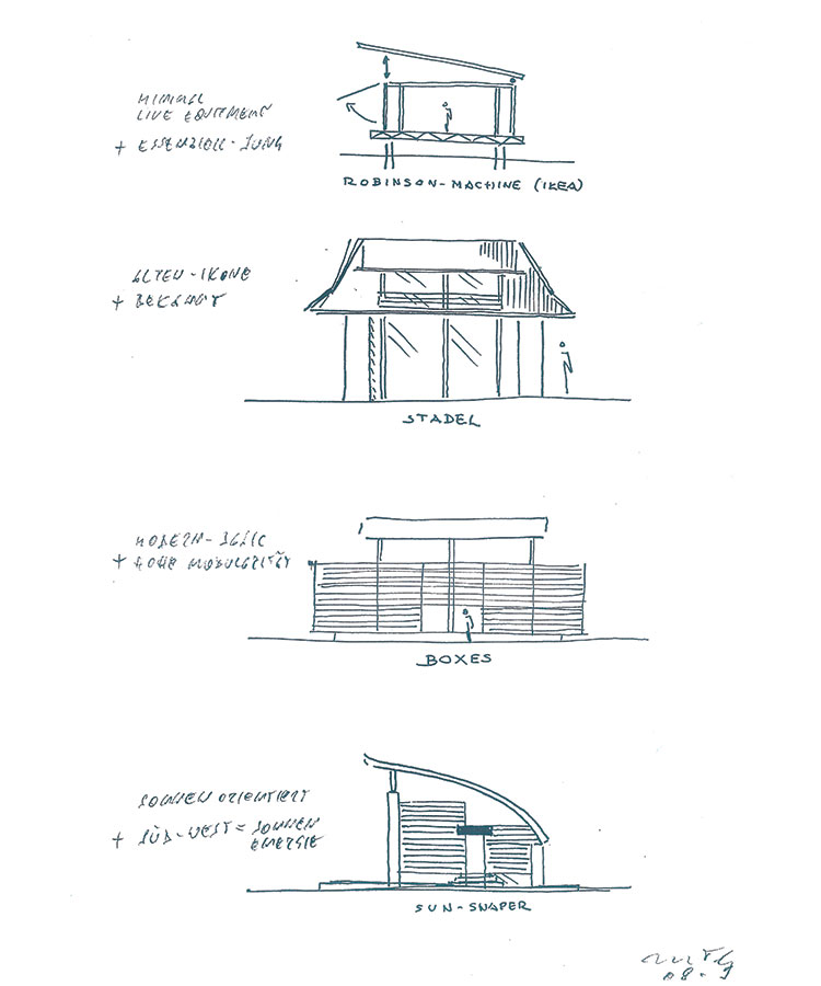 Sketch, O Sole Mio, First low-energy prefab house system for Griffner