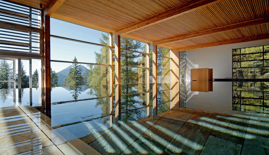 Spa area of the Vigilius Mountain Resort, Lana, Meran (IT), 2001–03