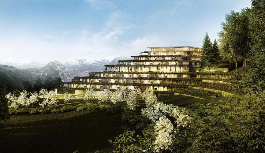 Initial rendering of the Serpiano Wellness Resort, Serpiano (CH), 2012