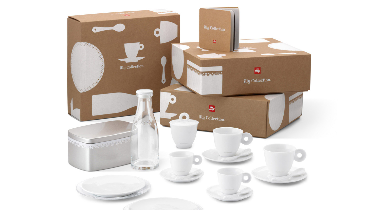 illy bar accessories, cups, accessories and packaging