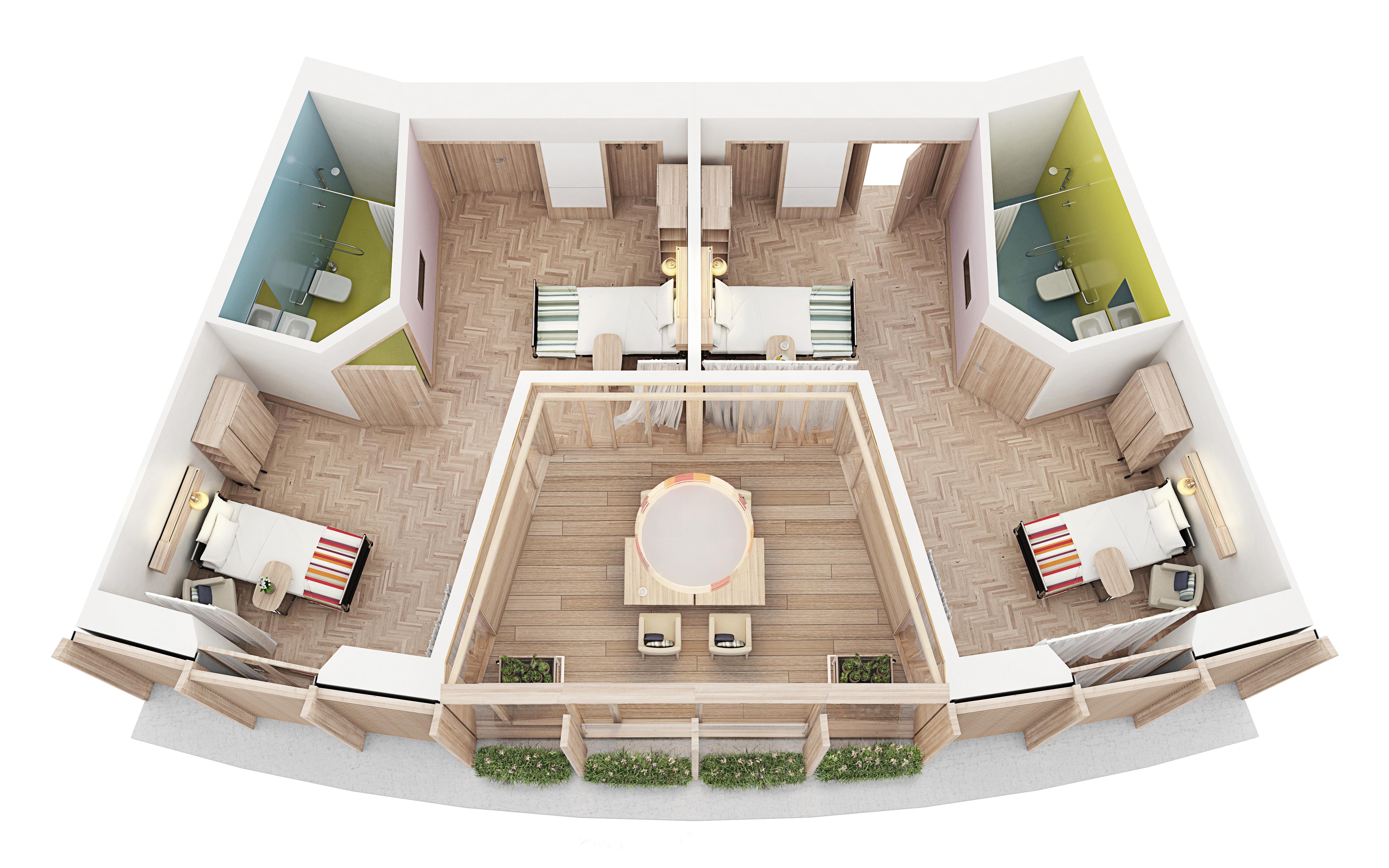 Matteo thun partners architecture waldkliniken eisenberg for Room layout website