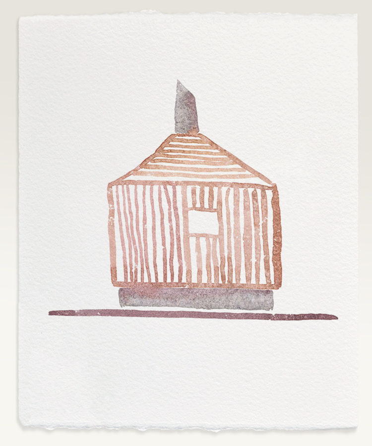 Watercolor by Matteo Thun of the Fire-House System, Bad Aibling (DE), 2011