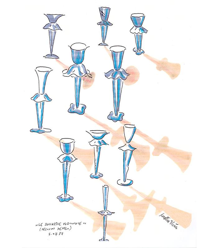 Ballerine fortunate Glass collection for Campari, 1987
