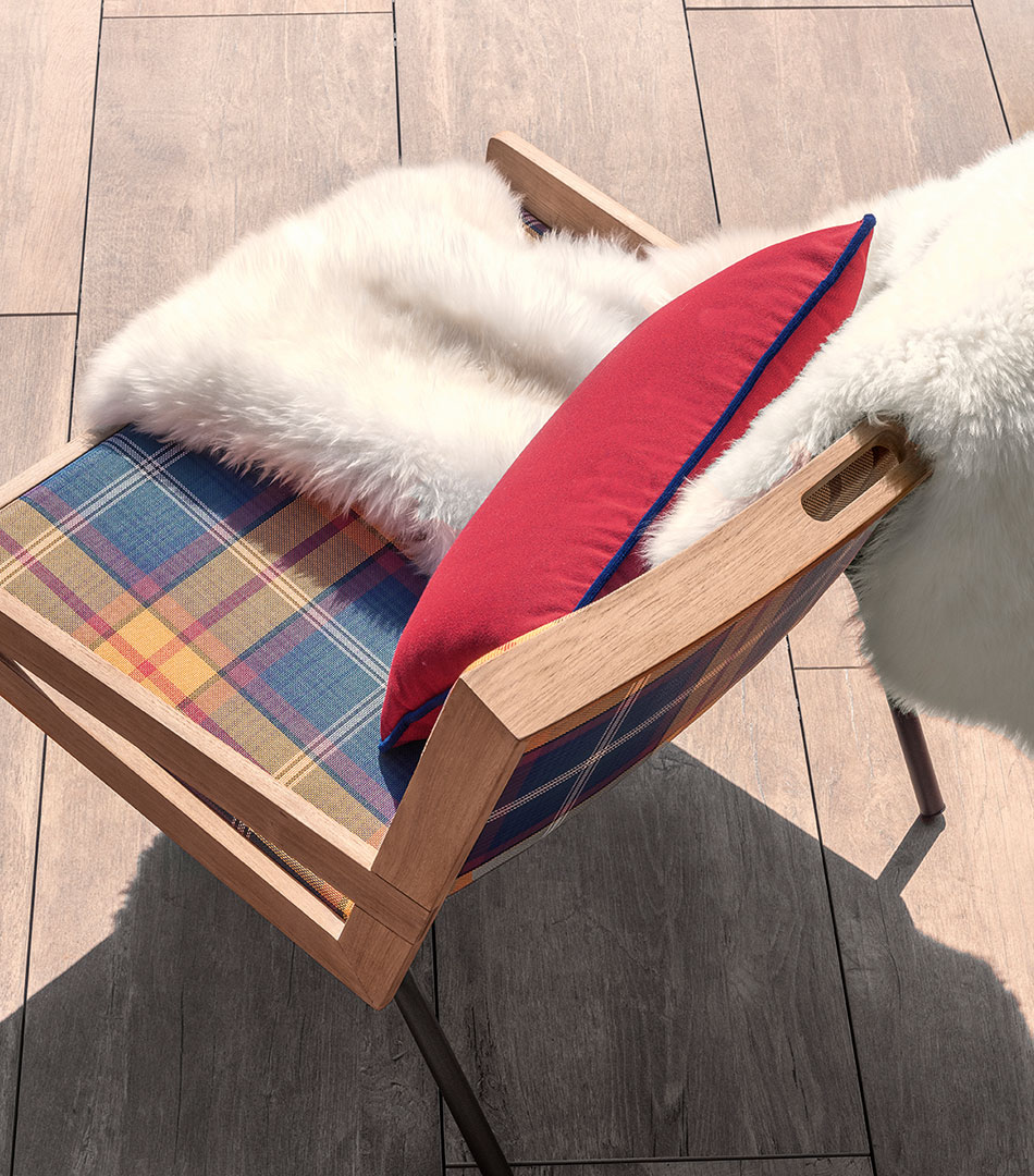 Allaperto, outdoor collection for Ethimo, Mountain armchair tartan version