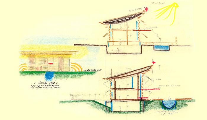 Sketch for O Sole Mio, prefab house system for Griffner